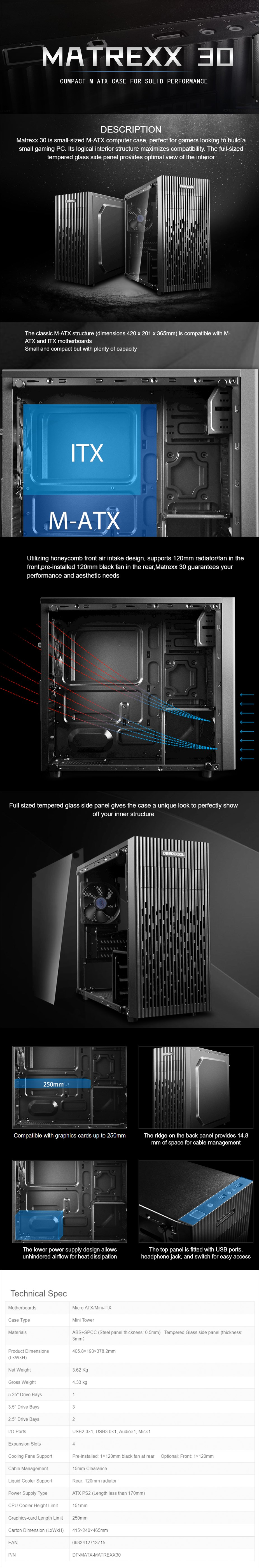 Deepcool Matrexx 30 Tempered Glass Mini-Tower Micro-ATX Case with 450W PSU - Overview 1