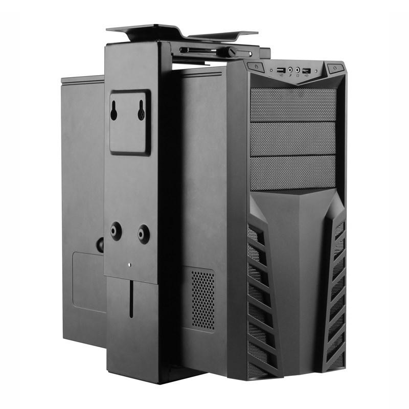 TiXX CPU-DWM Under Desk/Wall Mountable CPU Holder - Black - Desktop Overview 1