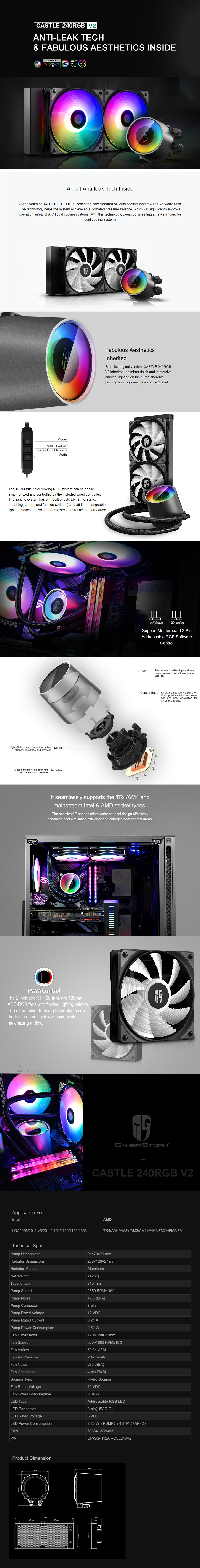 Deepcool Gamer Storm Castle 240 V2 ARGB AIO CPU Liquid Cooler - Desktop Overview 1