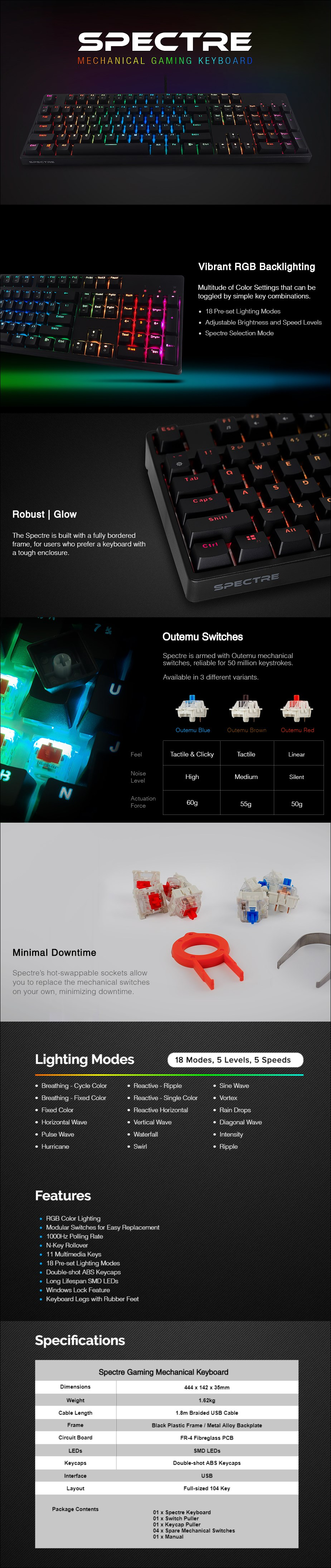 Tecware Spectre RGB Mechanical Gaming Keyboard - Outemu Blue - Desktop Overview 1