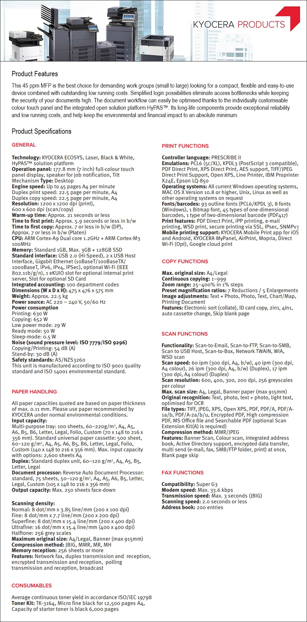 Kyocera ECOSYS M3645idn A4 Mono Multifunction Laser Printer - Desktop Overview 1