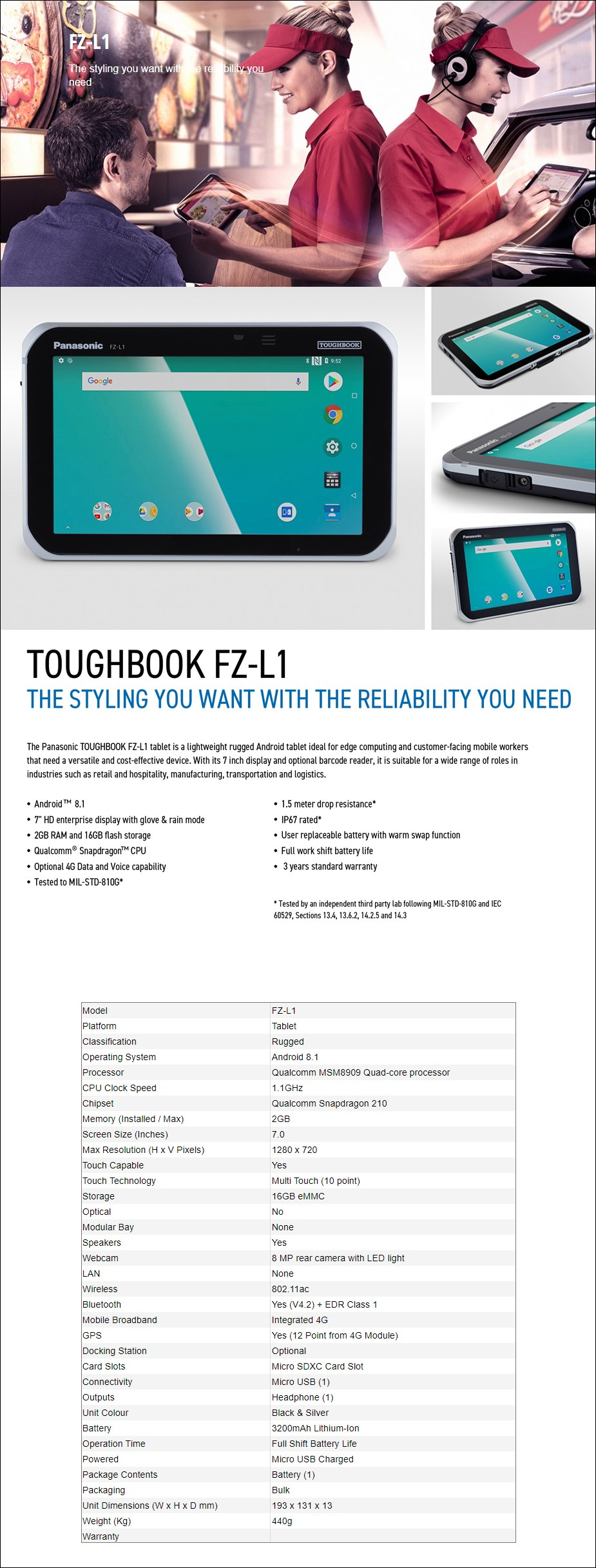 "Panasonic Toughbook FZ-L1 Mk1 7"" Tablet MSM8909 2GB 16GB Android Touch 4G - Desktop Overview 1"