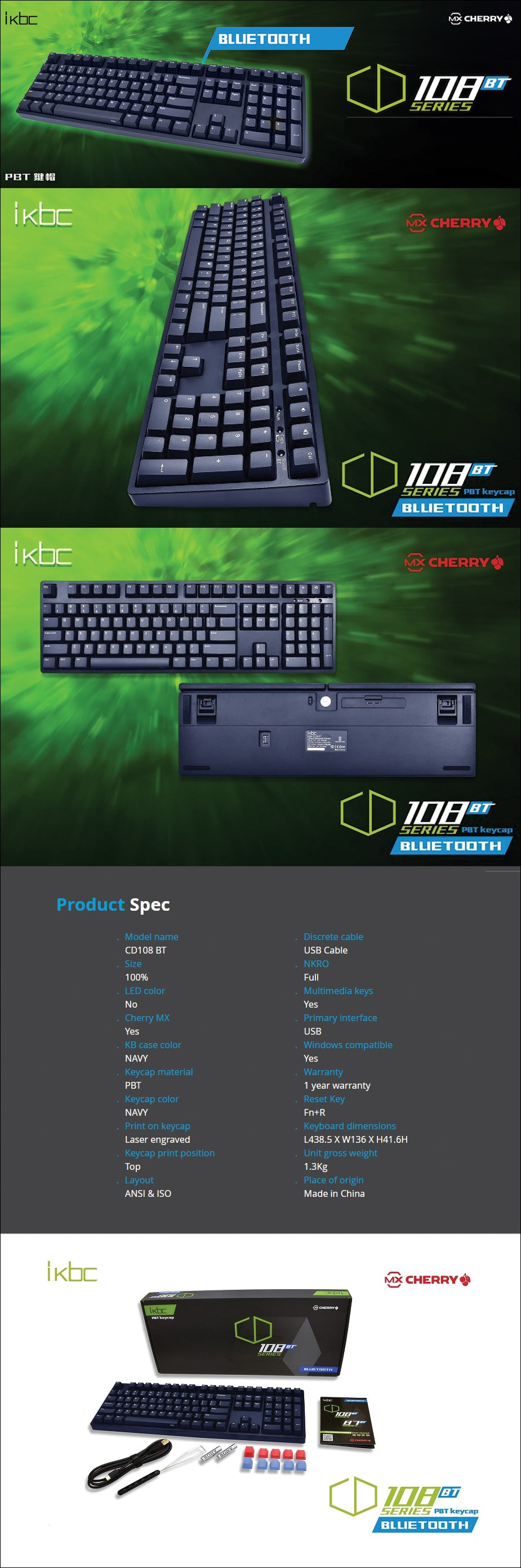 iKBC CD108 BT Navy Mechanical Gaming Keyboard - Cherry MX Red - Desktop Overview 1
