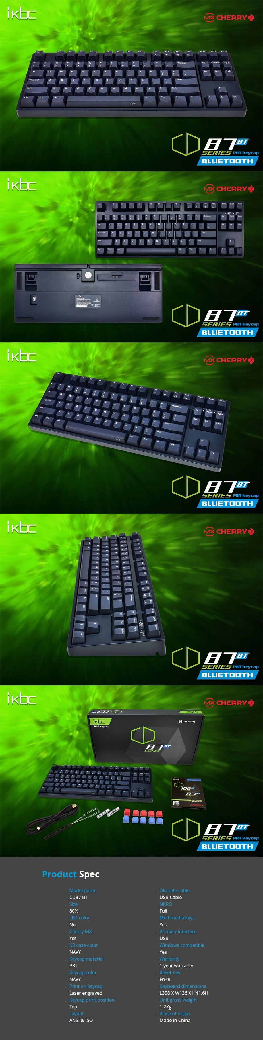iKBC CD87 BT TKL Navy Mechanical Gaming Keyboard - Cherry MX Blue - Desktop Overview 1