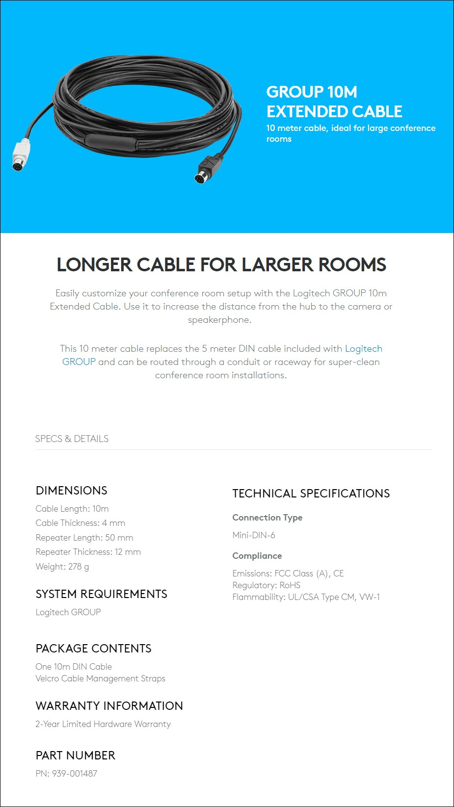 Logitech Group 10m Extended Cable for Large Conference Rooms - Desktop Overview 1