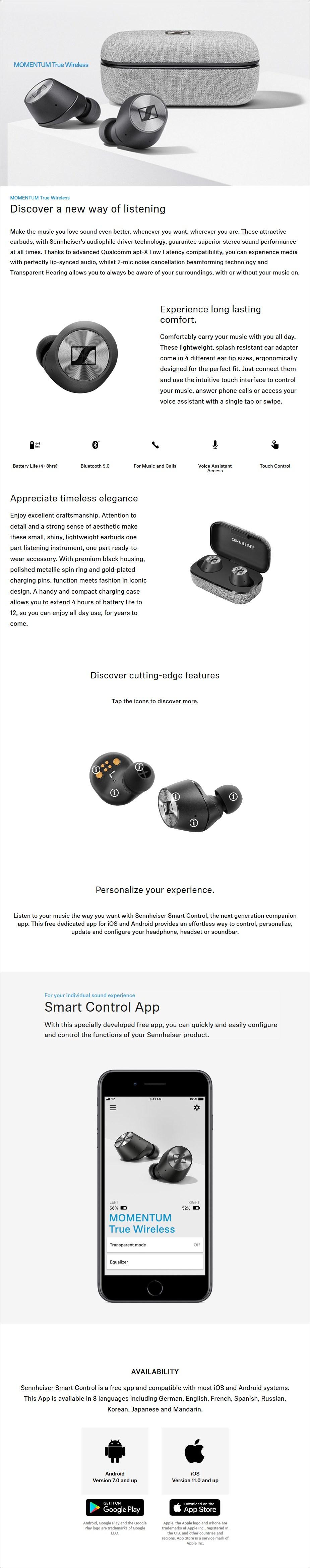 Sennheiser Momentum True Wireless In-Ear Headphone - Desktop Overview 1