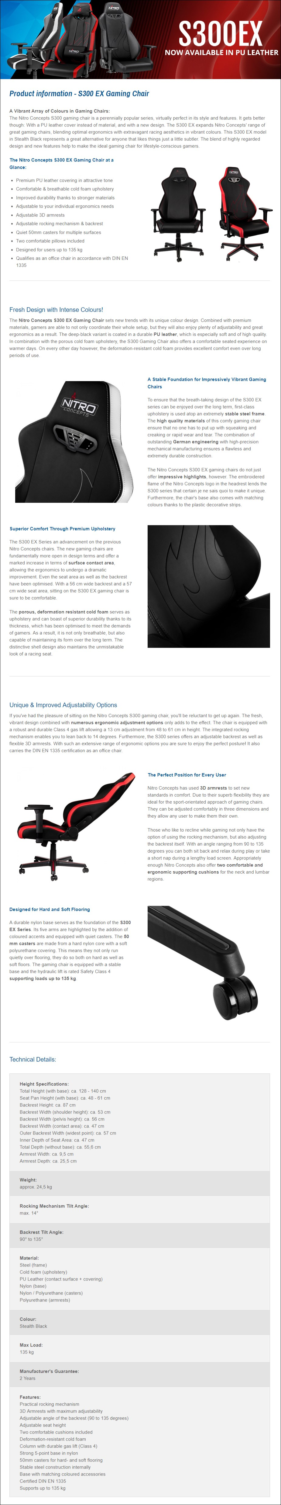 Nitro Concepts S300 EX Series Gaming Chair - Carbon Black - Desktop Overview 1