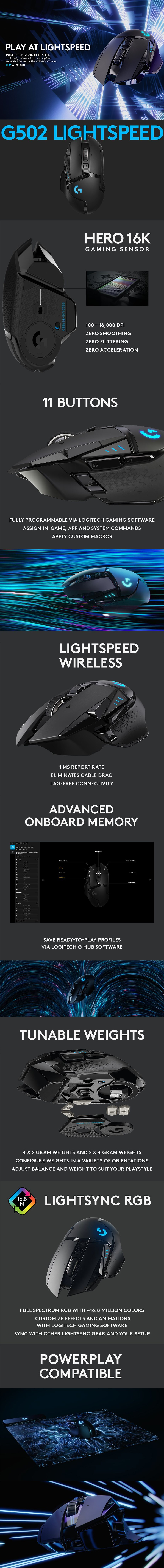 Logitech G502 Lightspeed Wireless Gaming Mouse - Desktop Overview 1