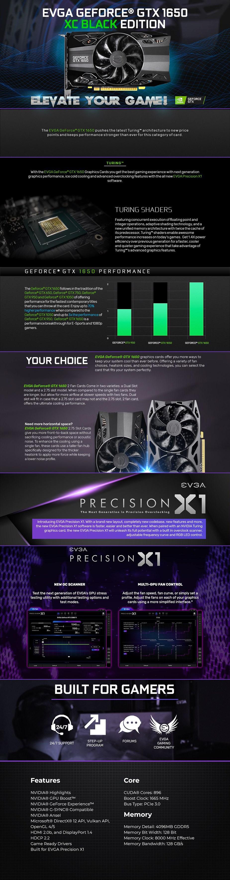 EVGA GeForce GTX 1650 XC Black GAMING 4GB Video Card - Overview 1