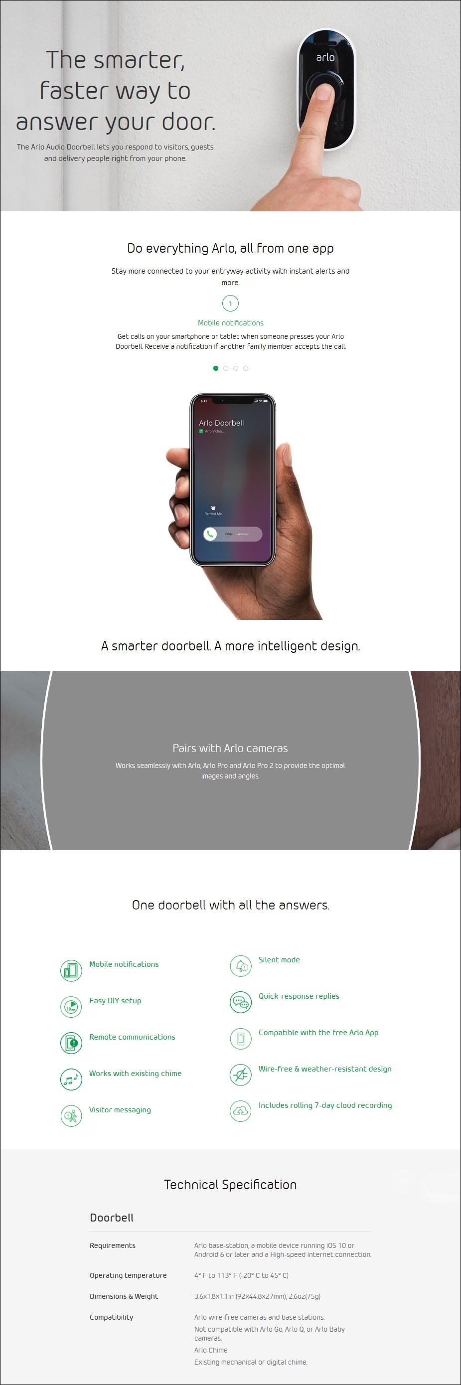 Arlo Audio Wire-Free Doorbell - Desktop Overview 1