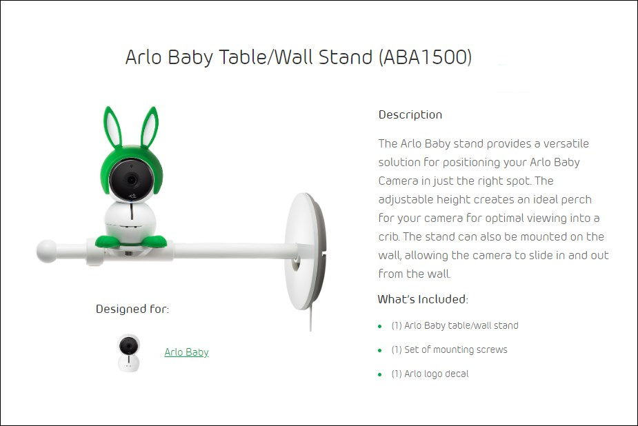 Arlo Baby Camera Table/Wall Stand - Desktop OVerview 1