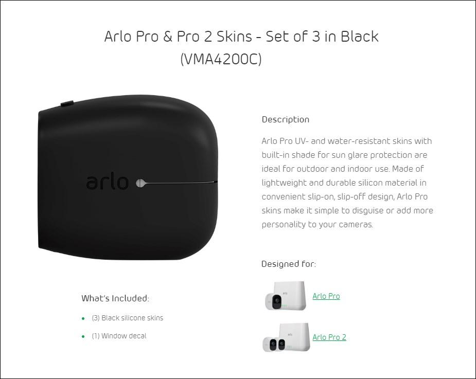 Arlo Pro/Pro 2 Security Black Camera Skin - 3 Pack