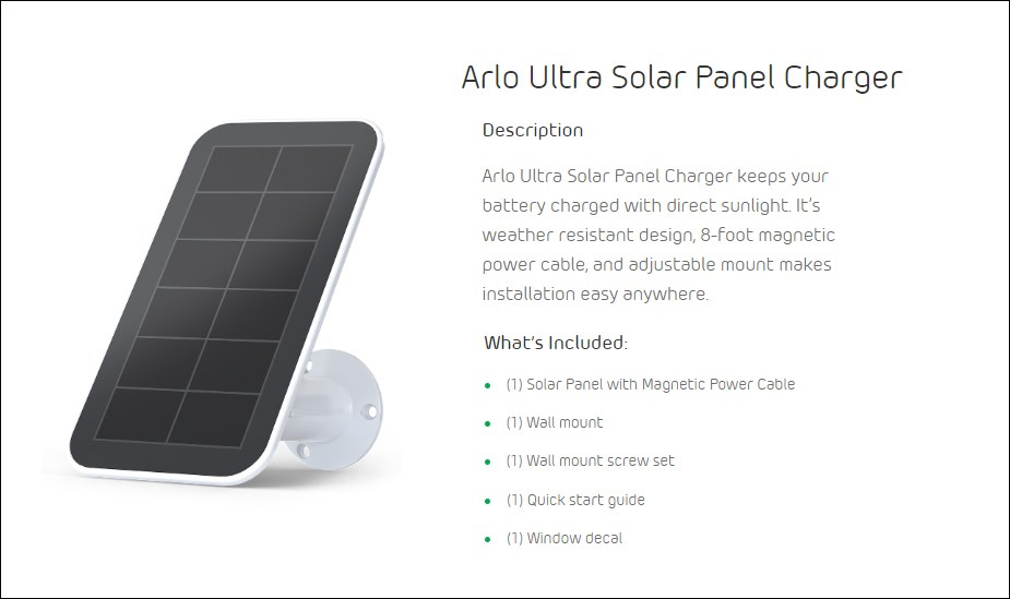 Arlo Ultra Solar Panel Charger - Desktop Overview 2