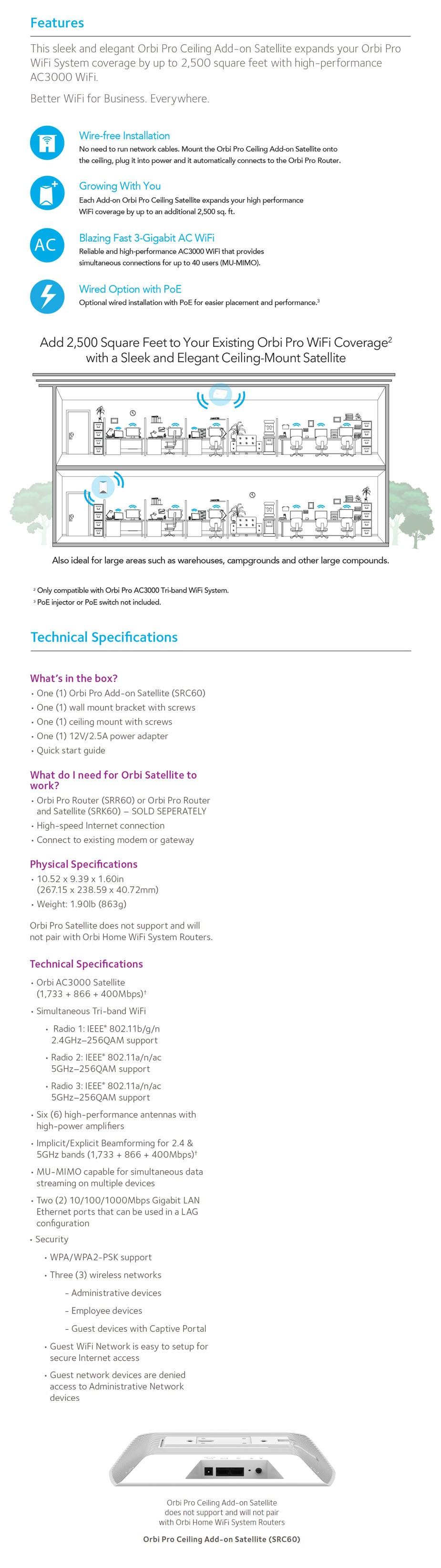 Netgear Orbi Pro SRC60 AC3000 Tri-band Mesh WiFi Satellite Addon - Overview 1
