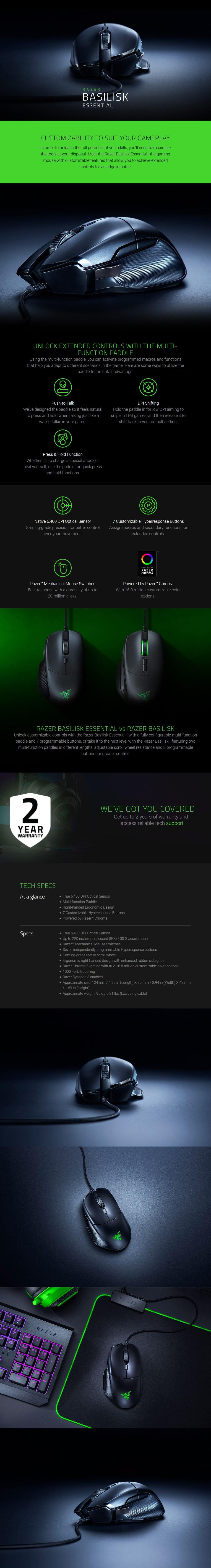 Razer Basilisk Essential Optical Gaming Mouse - Desktop Overview 1