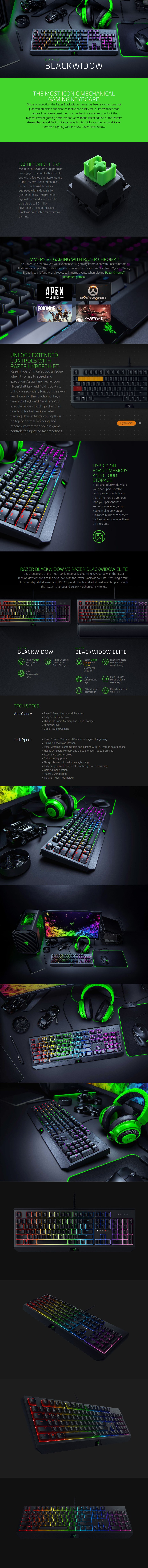 Razer BlackWidow 2019 Mechanical Gaming Keyboard - Green Switches - Overview 1