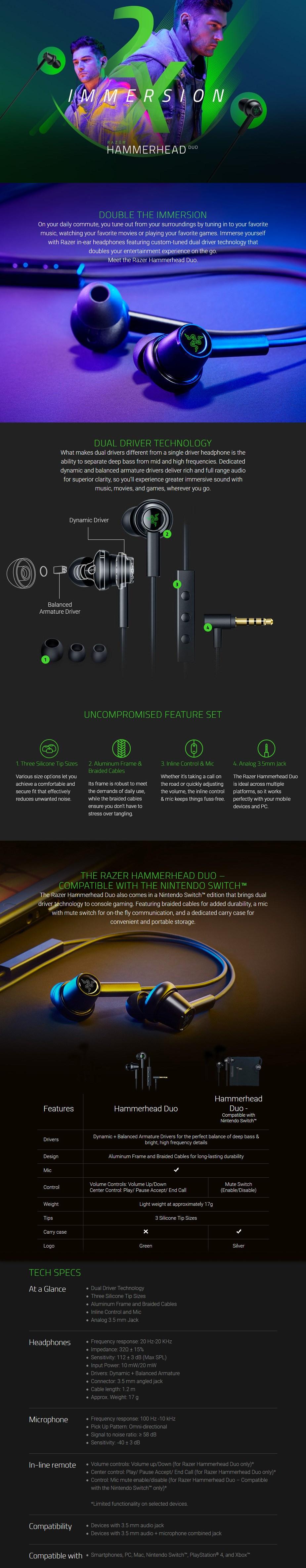 Razer Hammerhead Duo In-Ear Headset - Overview 1