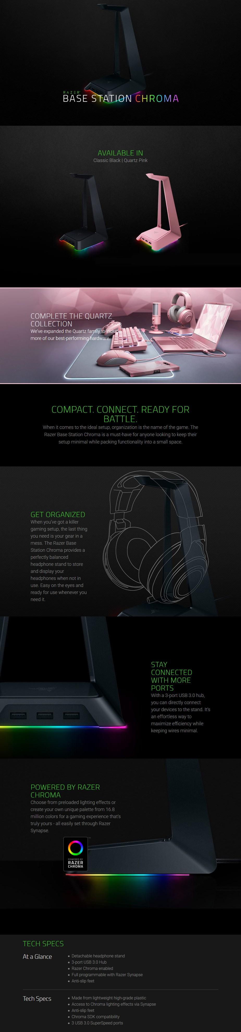 Razer Chroma Headset Stand & Base Station - Quartz Edition - RC21