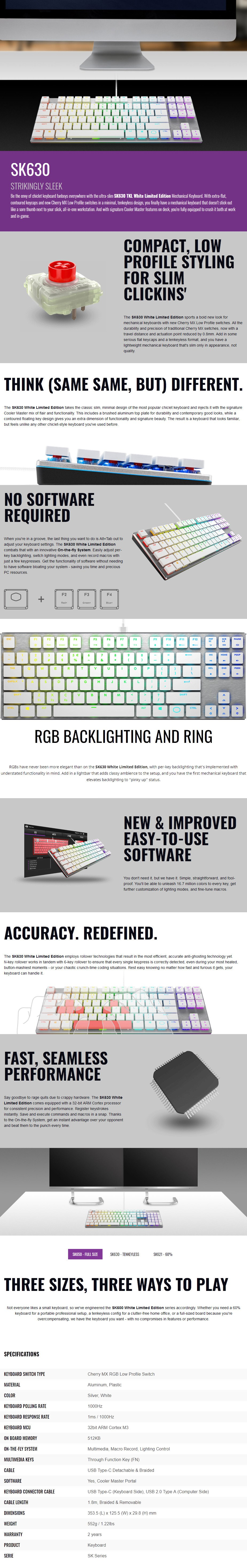Cooler Master SK650 RGB TKL Low Profile Mechanical Gaming Keyboard - MX Red - Desktop Overview 1