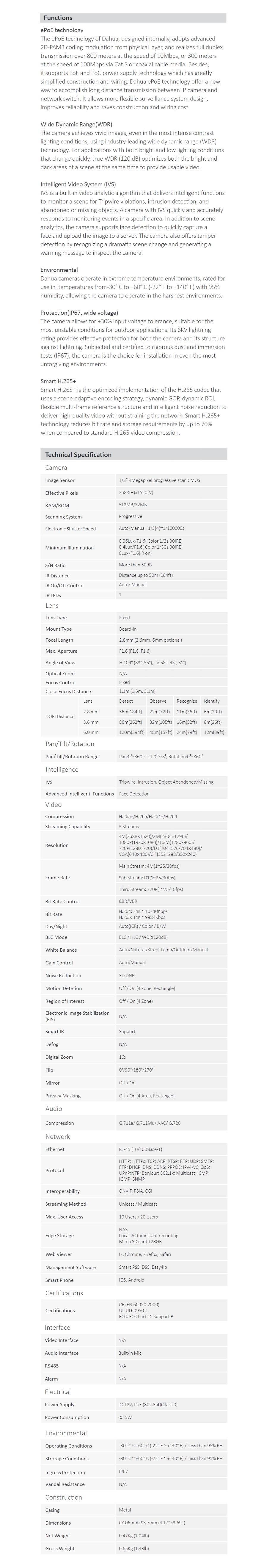 Dahua 4MP Full HD IR Eyeball Network Camera - Overview 1