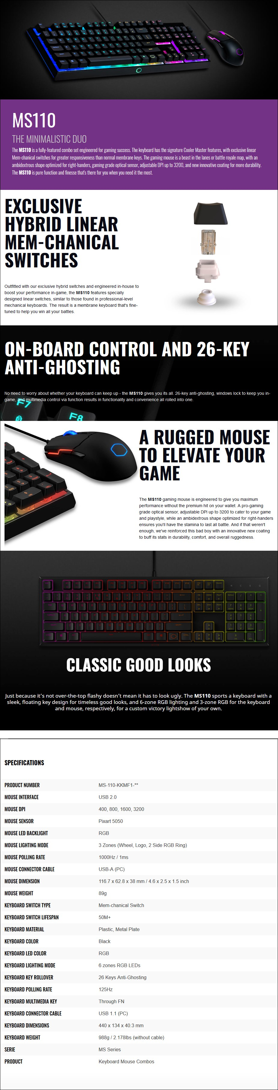 Cooler Master MS110 RGB Gaming Keyboard & Mouse Combo - Overview 1