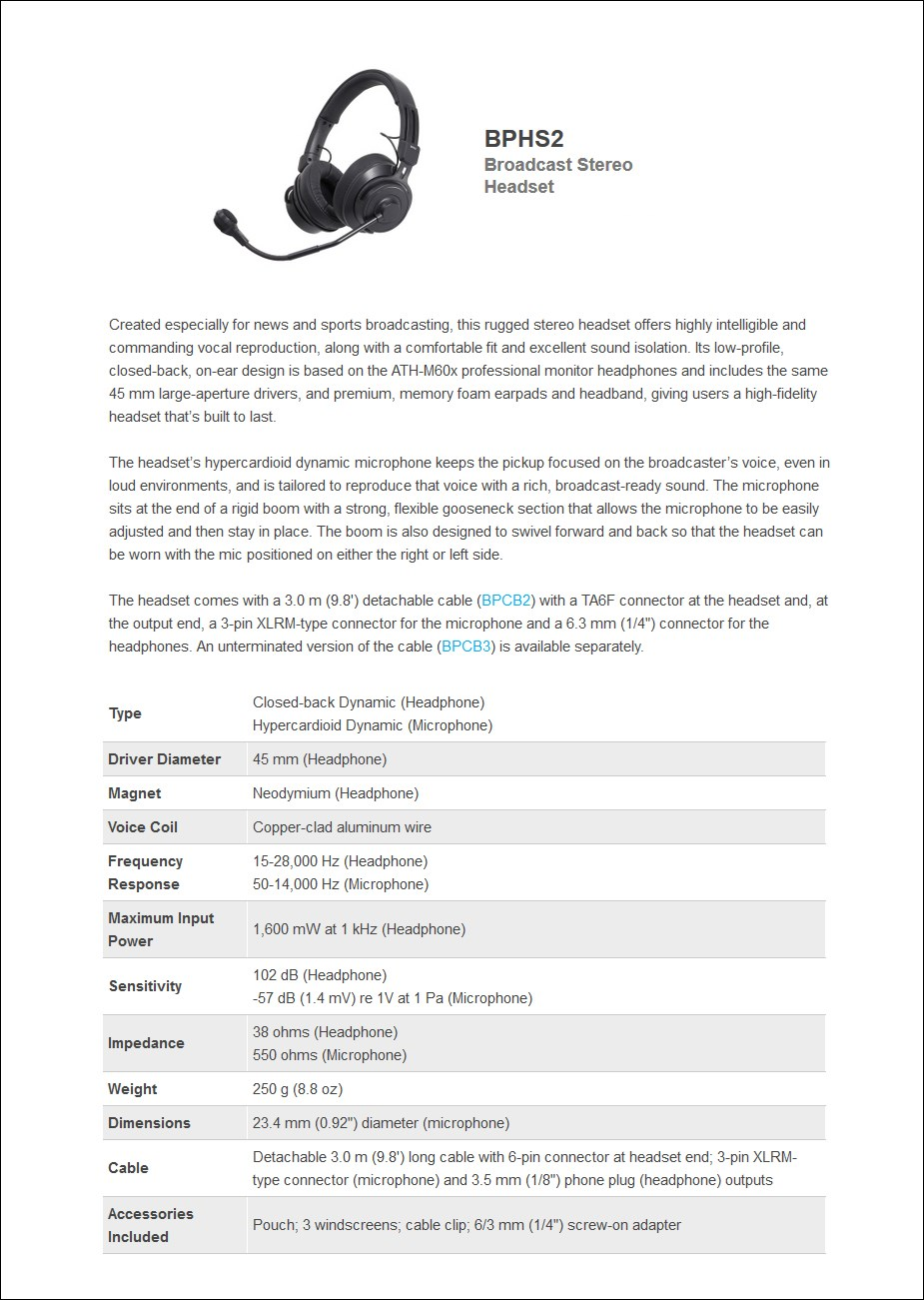 Audio-Technica BPHS2 Broadcast Stereo Headset - Desktop Overview 1