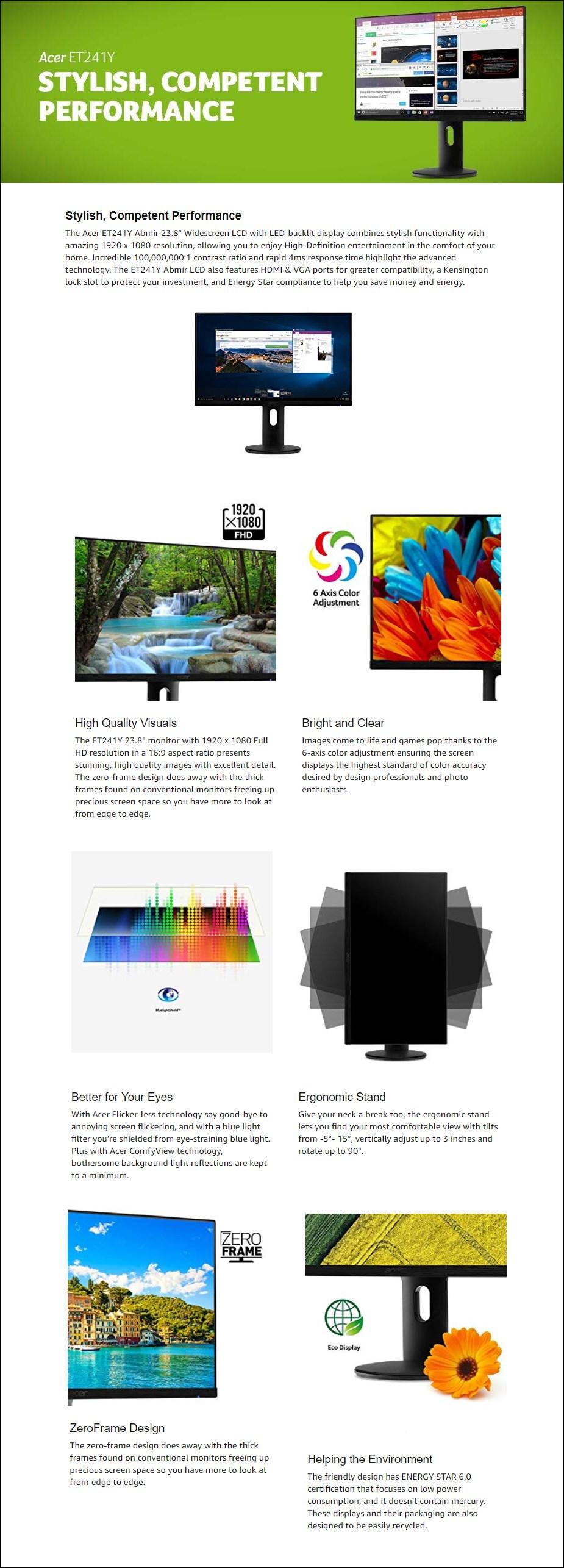"""Acer ET241Y 23.8"""" Full HD Frameless IPS Monitor - Desktop Overview 1"""