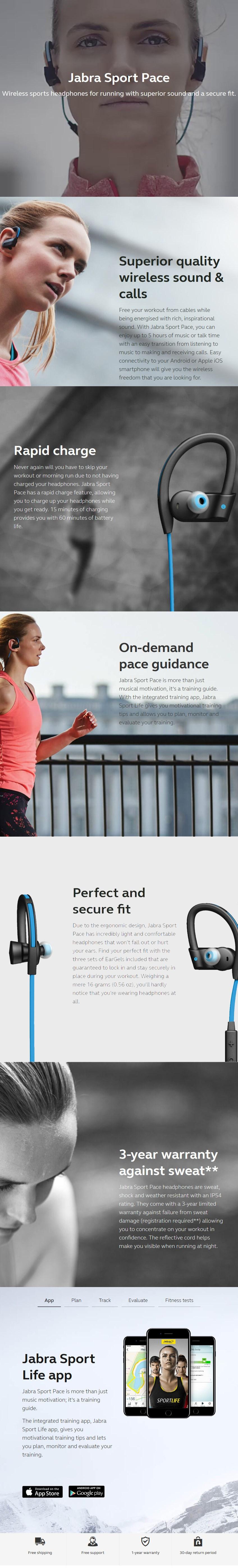 Jabra Sport Pace Bluetooth Earphones - Black - Desktop Overview 1