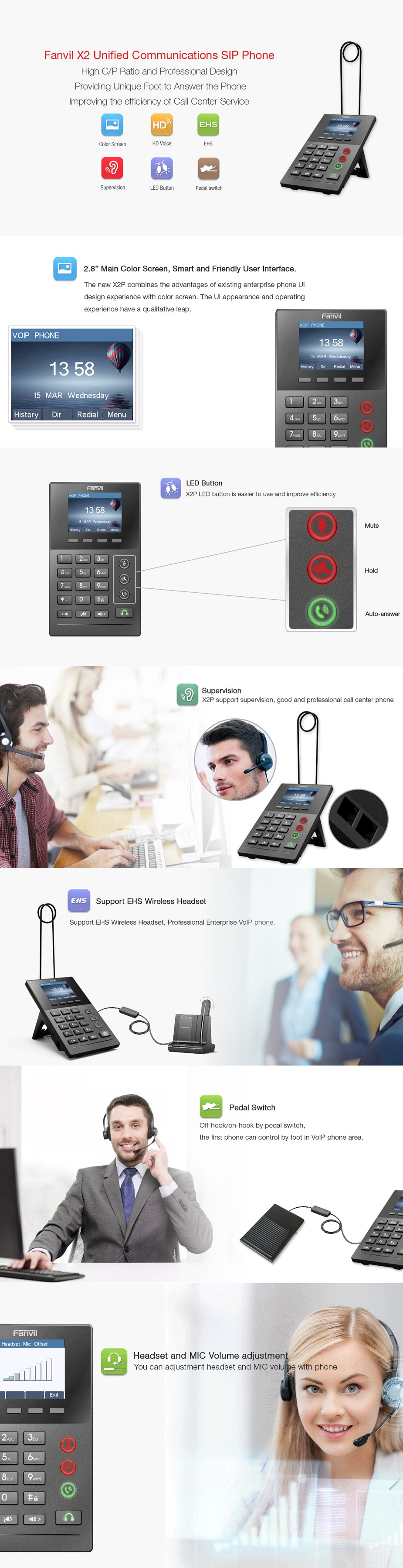 Fanvil X2P Call Center IP Phone - Desktop Overview 1