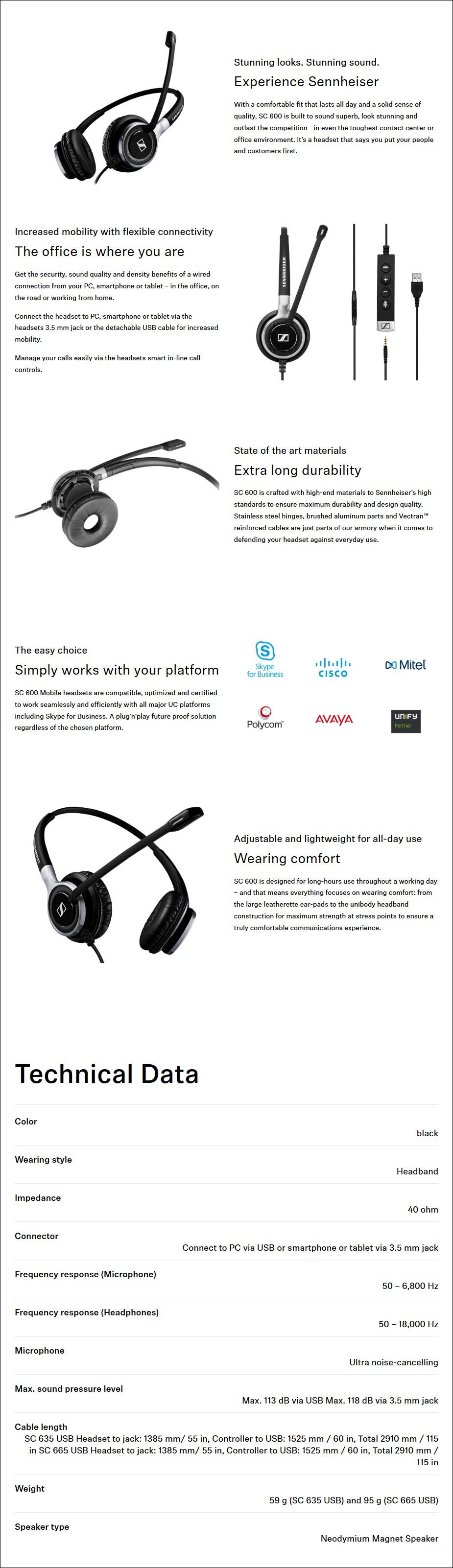 Sennheiser SC 635 USB Monaural Office Headset - Desktop Overview 1