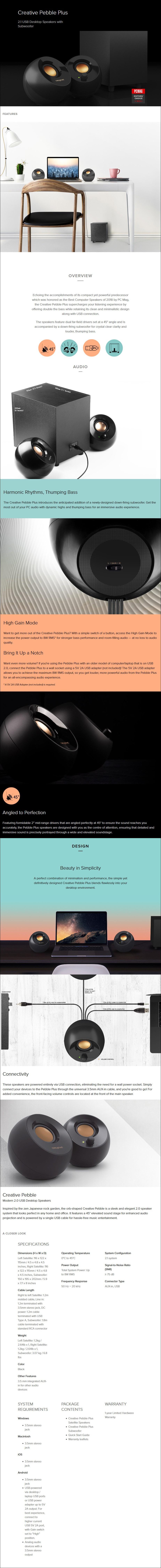 Creative Pebble Plus 2.1 USB Speaker System - Black - Desktop Overview 1