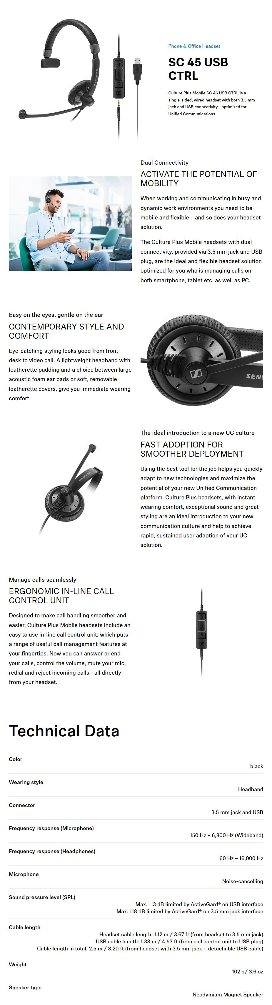 Sennheiser SC 45 USB CTRL Monaural On-Ear Headset - Desktop Overview 1
