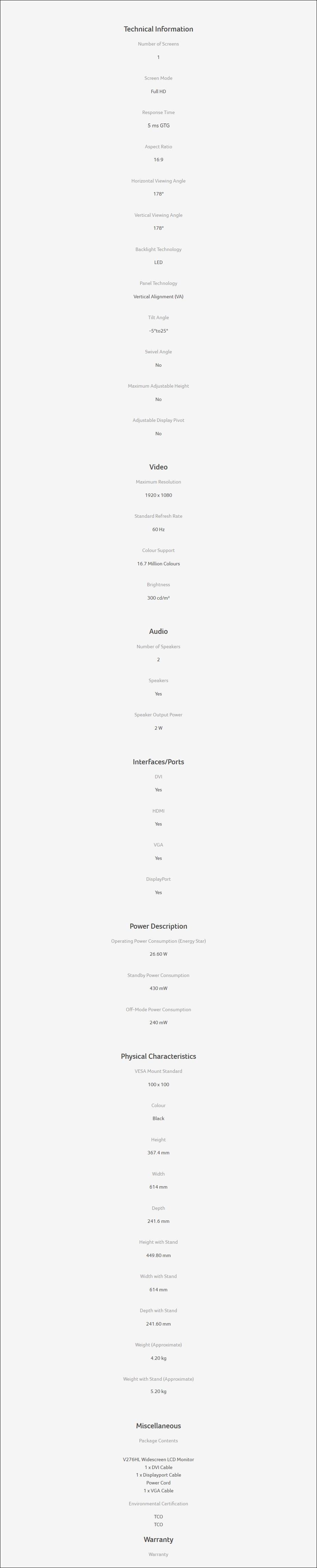 """Acer V276HL 27"""" Full HD VA Monitor - Overview 2"""