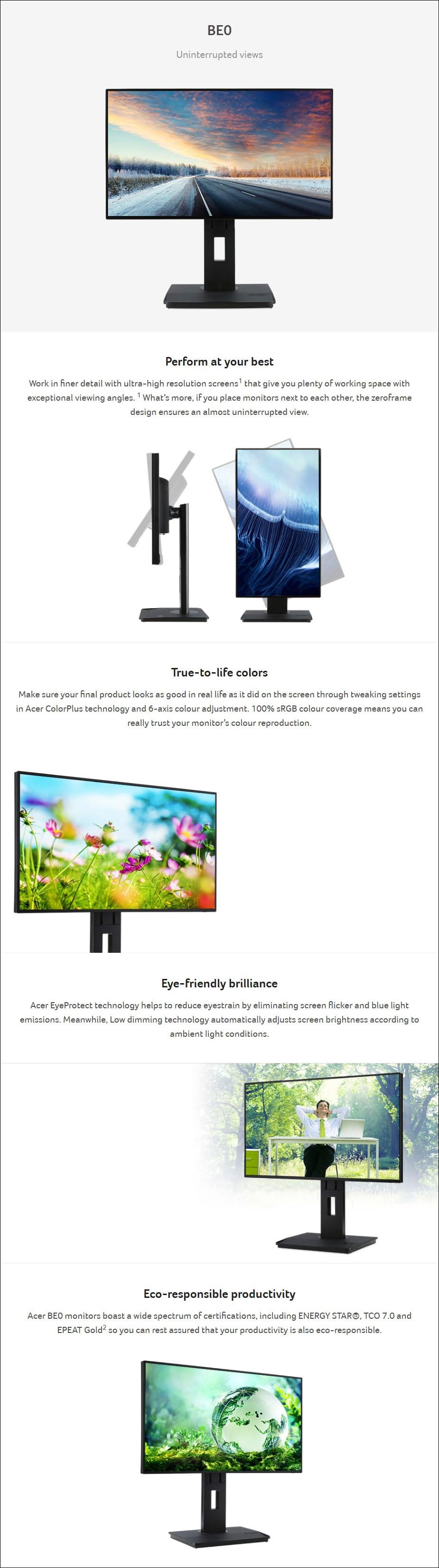 "Acer BE270U 27"" 75Hz WQHD Ergonomic ZeroFrame IPS Monitor - Desktop Overview 1"