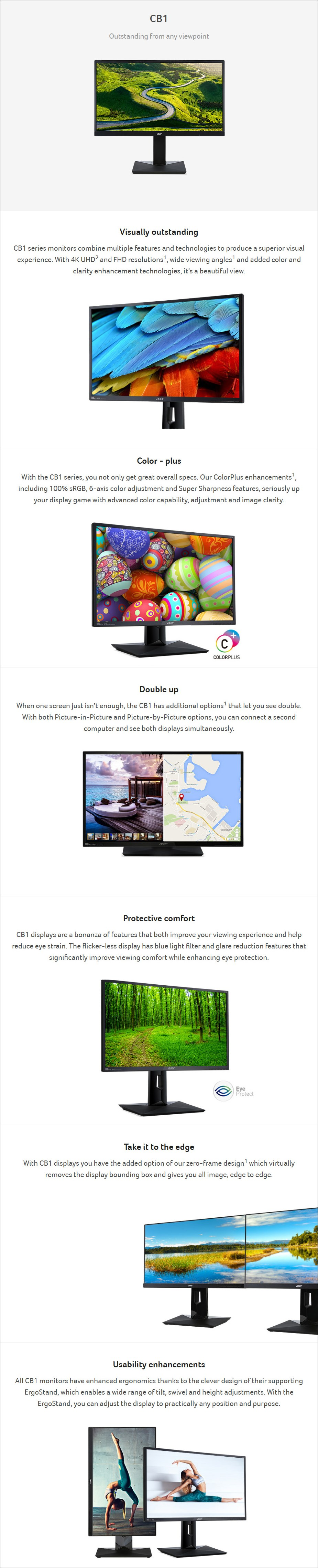 """Acer CB271HU 27"""" WQHD Height Adjustable IPS Monitor - Overview 1"""