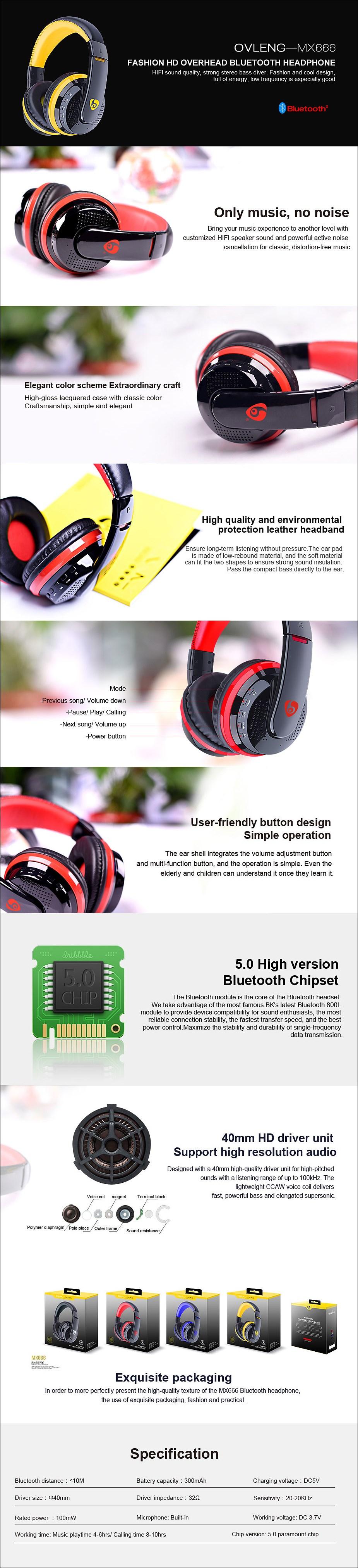 Ovleng MX666 Over-Ear Bluetooth Headphones - Red - Desktop Overview 1