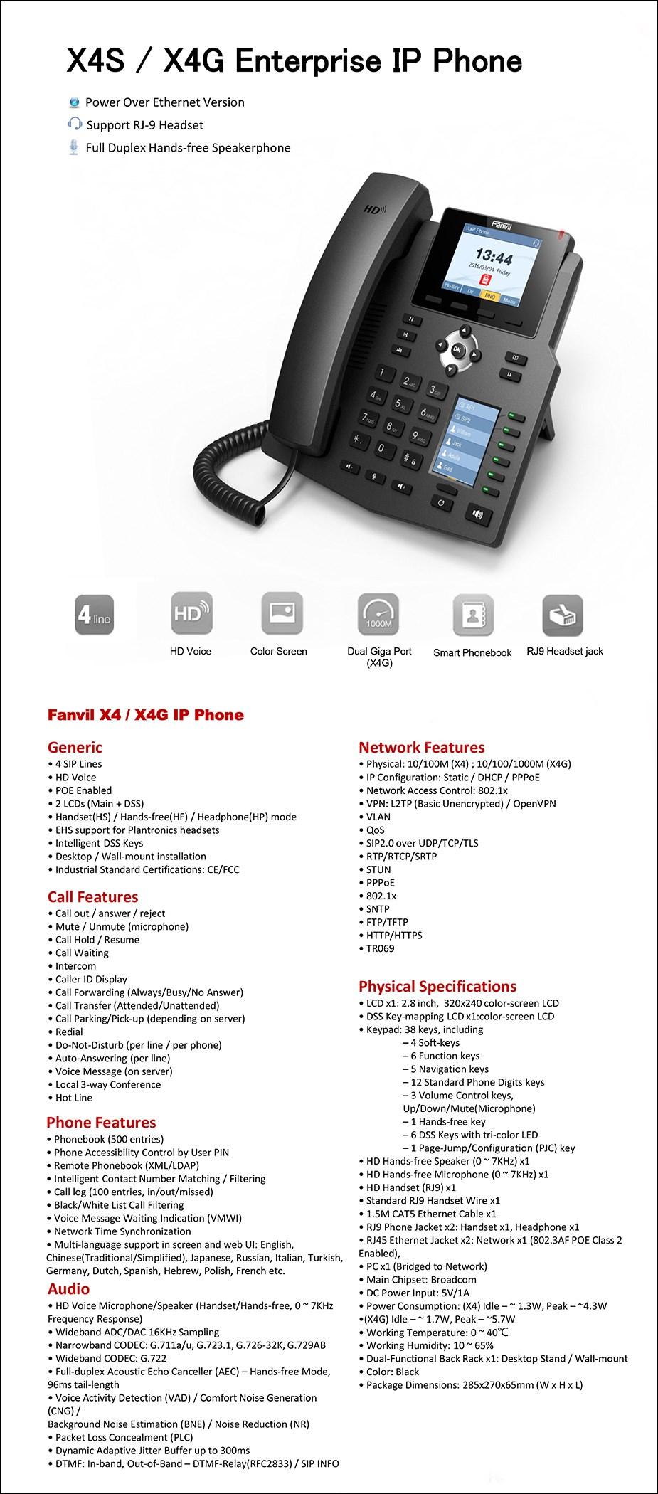 Fanvil X4G 4-Line HD Enterprise IP Phone - Desktop Overview 1