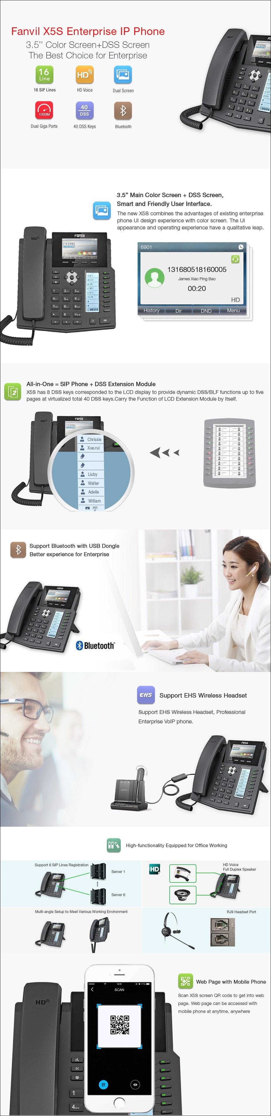 Fanvil X5S 6-Line HD Enterprise IP Phone - Desktop Overview 1