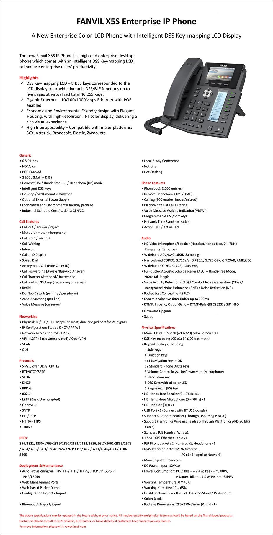 Fanvil X5S 6-Line HD Enterprise IP Phone - Desktop Overview 2