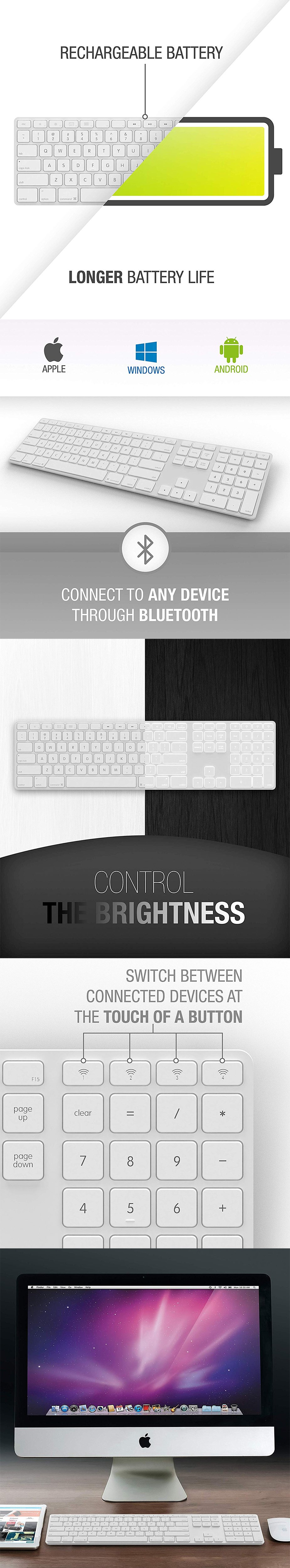 Matias FK418BTLW Wireless Aluminum Backlit Keyboard - White - Desktop Overview 1