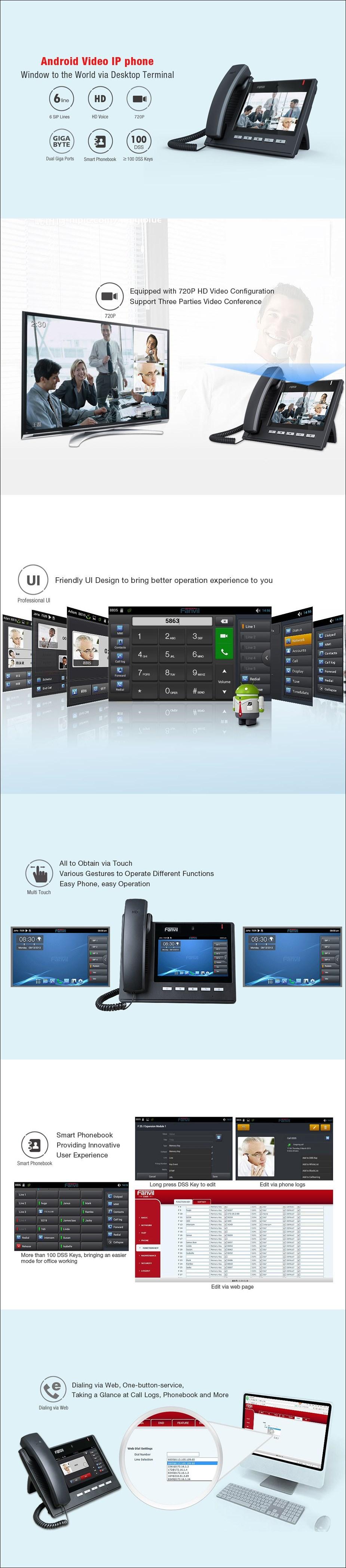 Fanvil C600 6-Line HD Smart Android Video IP Phone - Desktop Overview 1