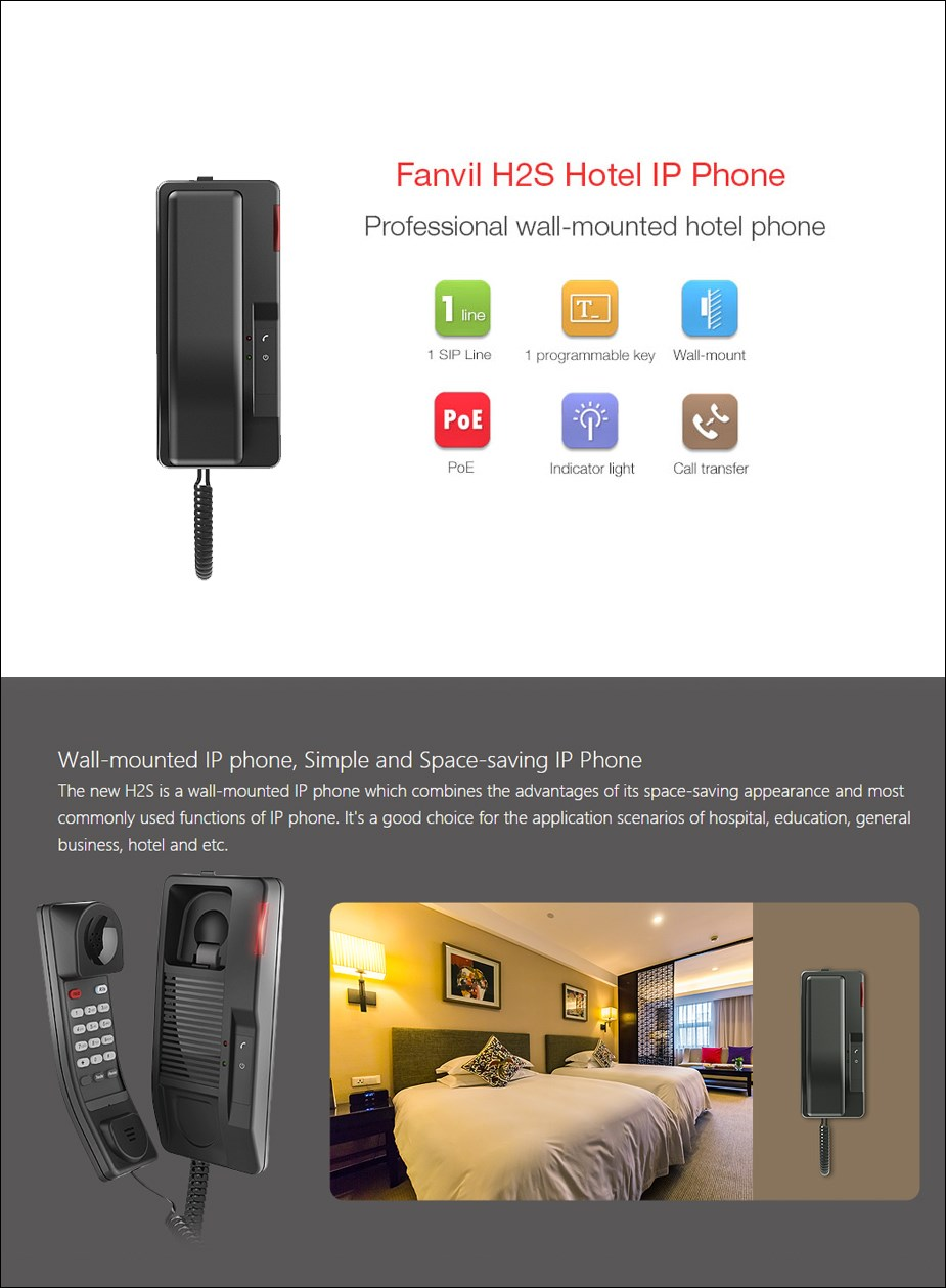 Fanvil H2S Wall-Mounted Hotel IP Phone - Overview 1