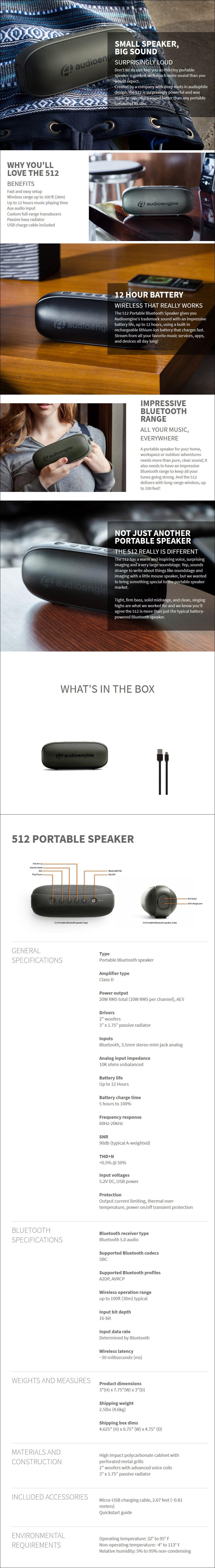 Audioengine 512 Portable Bluetooth Speaker - Black - Desktop Overview 1