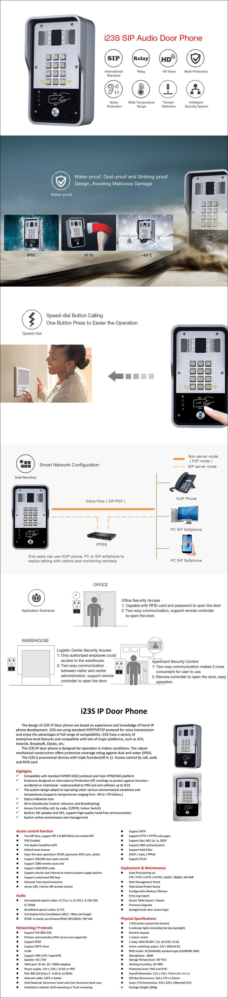Fanvil i23S 2-Line HD Audio Intercom System - Keypad - Desktop Overview 1