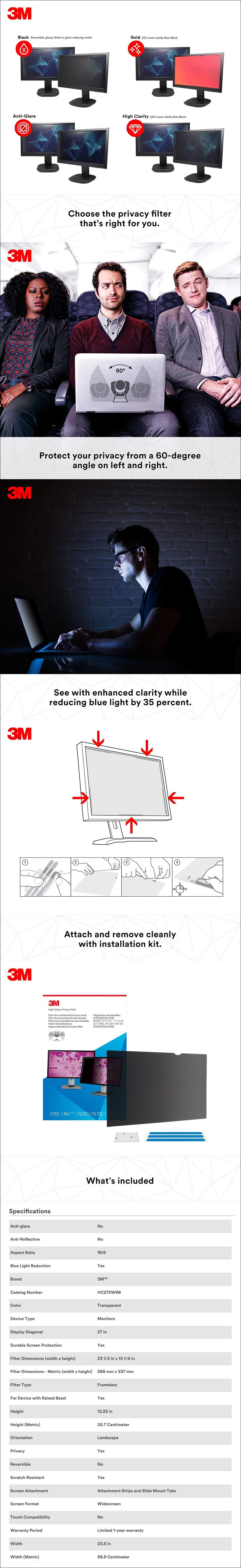 "3M HC270W9B High Clarity Privacy Filter for 27"" Widescreen Monitors (16:9) - Desktop Overview 1"