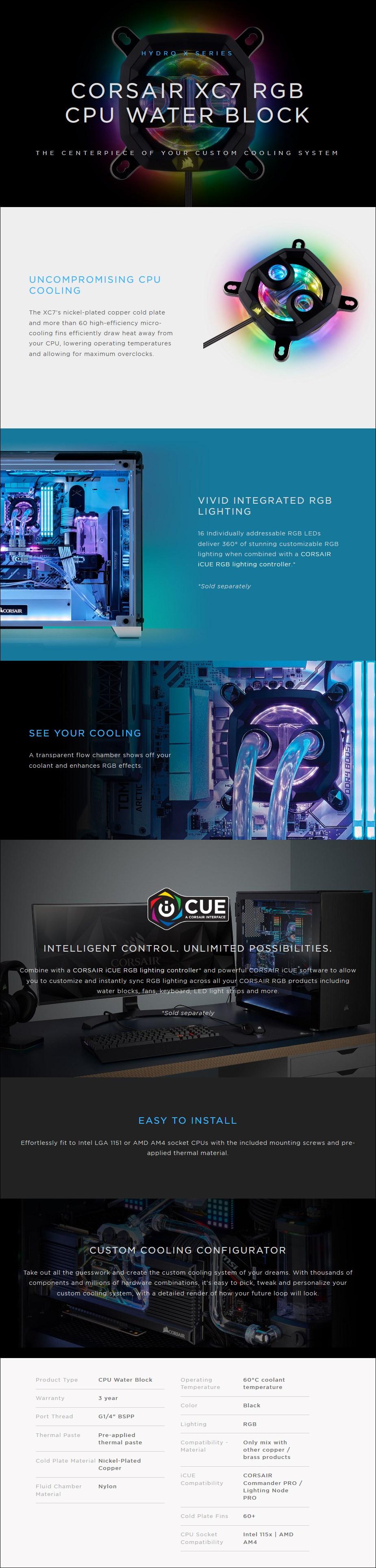 Corsair Hydro X Series XC7 RGB CPU Water Block - 115X/AM4 - Overview 1
