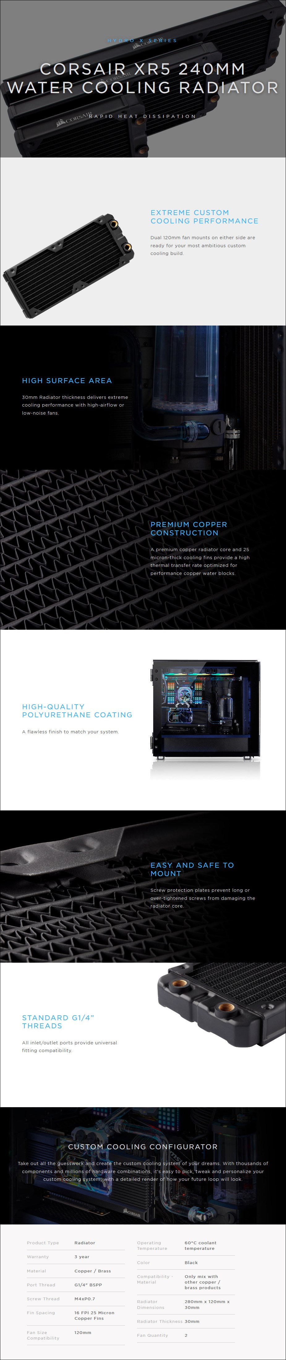 Corsair Hydro X Series XR5 240mm Water Cooling Radiator - Overview 1