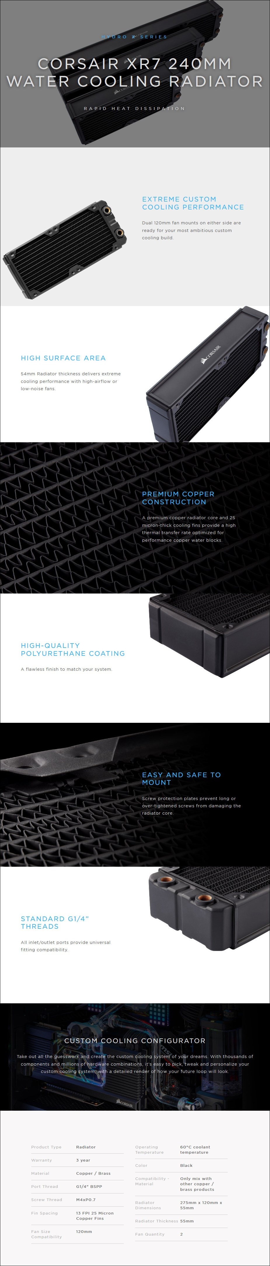 Corsair Hydro X Series XR7 240mm Water Cooling Radiator - Overview 1