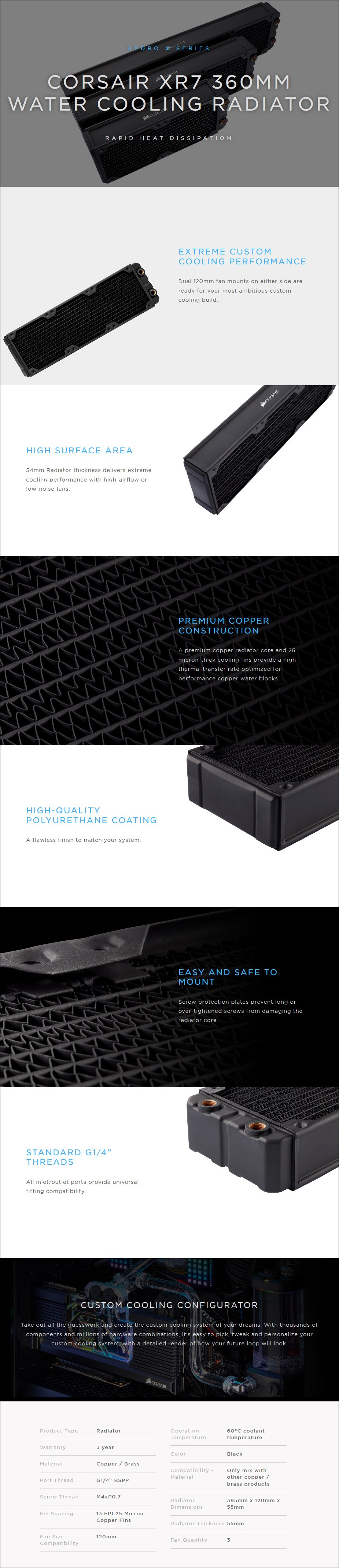 Corsair Hydro X Series XR7 360mm Water Cooling Radiator - Overview 1
