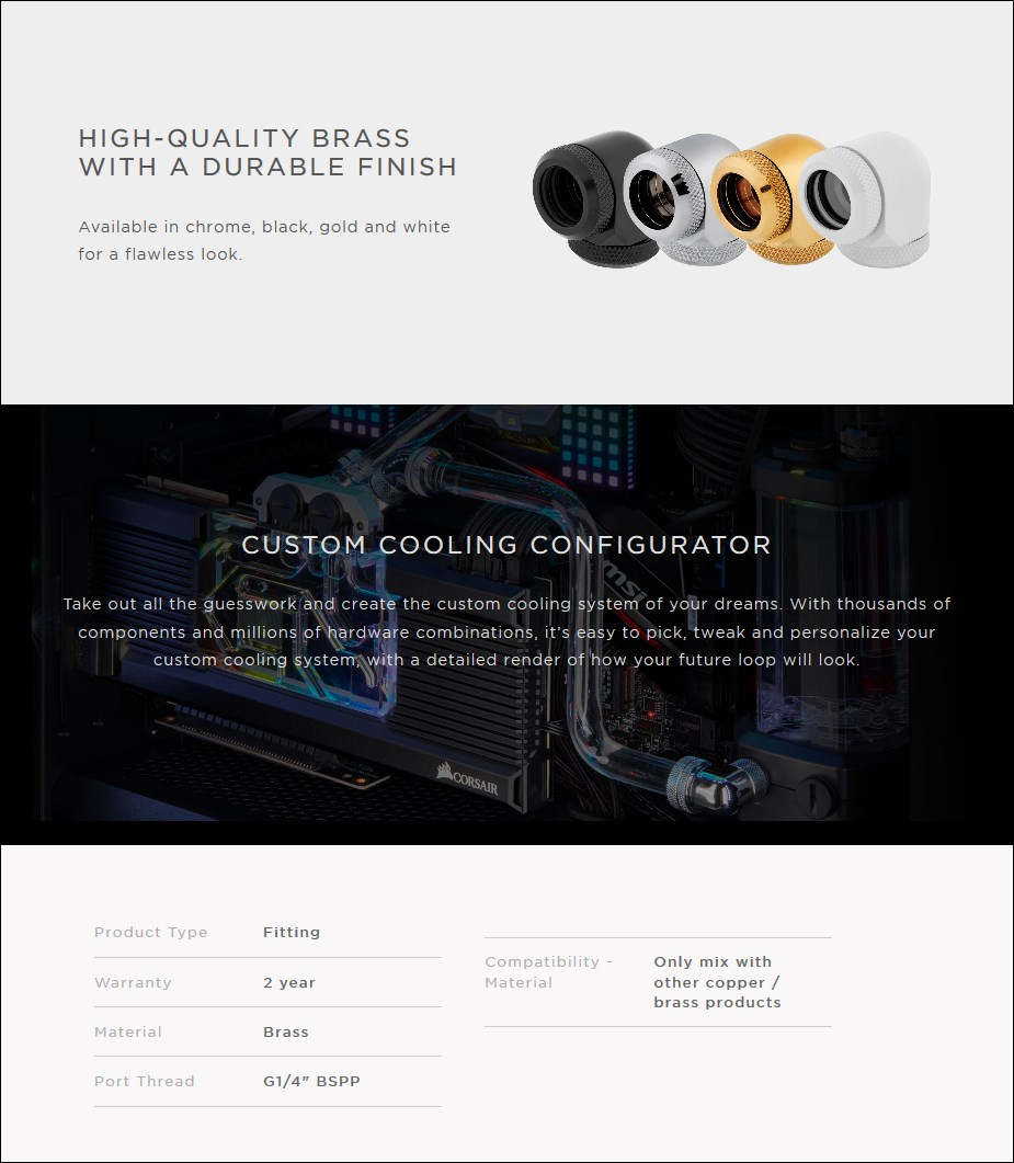 Corsair Hydro X Series XF HL 90-Degrees 14mm OD Fittings Twin Pack - Overview 1